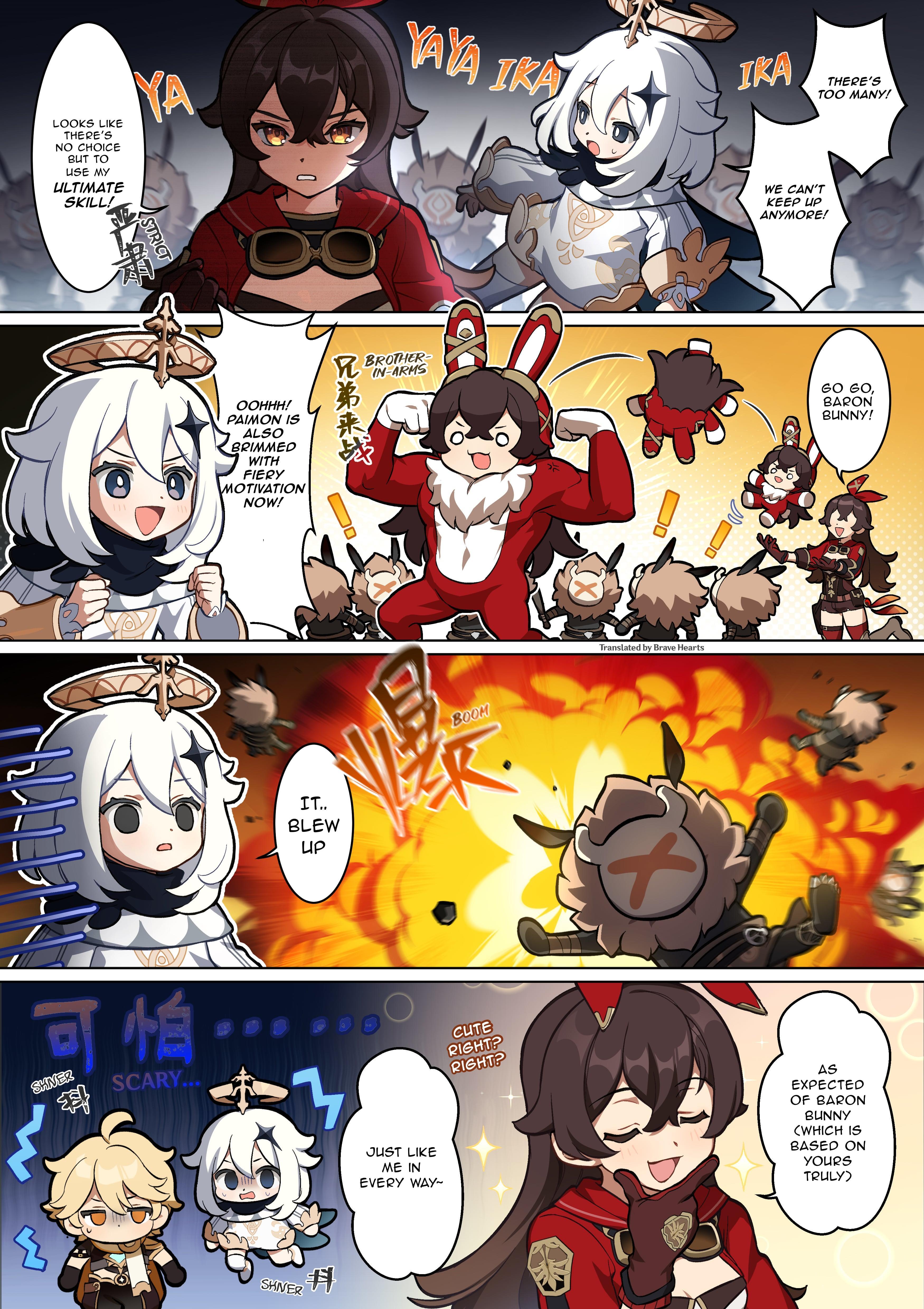 Genshin Impact 4-Koma Chapter 13: Amber And Her Baron Bunny page 1 - Mangakakalots.com