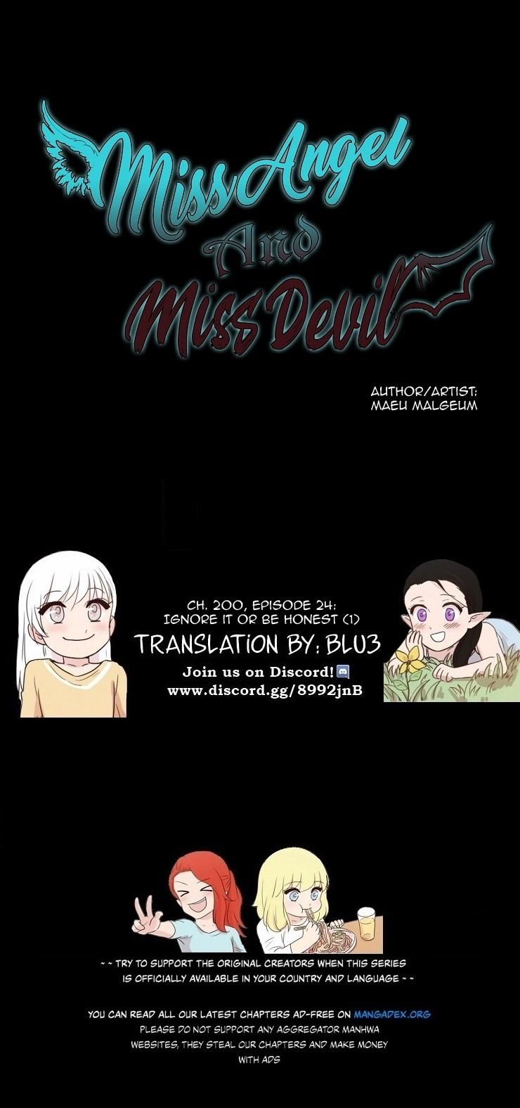 Miss Angel And Miss Devil Chapter 200: Ep. 24 - Ignore It Or Be Honest (1) page 1 - Mangakakalots.com